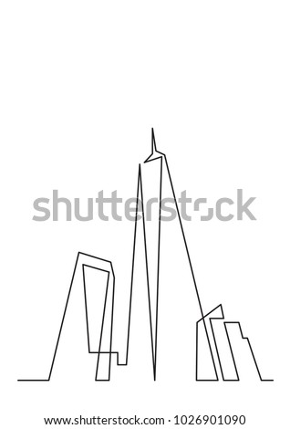 continuous line drawing of city skyscrapers