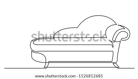 continuous line drawing of comfortable lounge chaise Foto stock ©