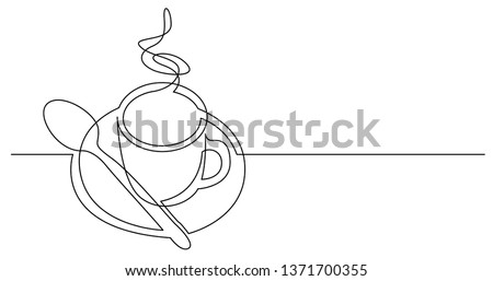 continuous line drawing of cup of hot coffee with spoon and saucer