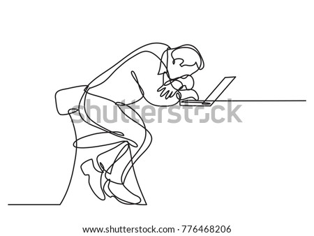 continuous line drawing of depressed businessman sitting bihind laptop computer
