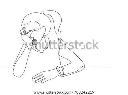 continuous line drawing of depressed young woman sitting