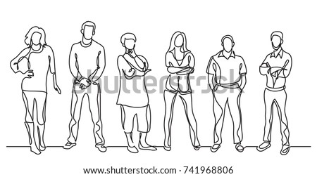 continuous line drawing of diverse crowd of standing people