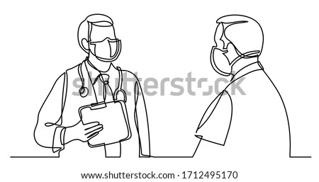 continuous line drawing of doctor in protective mask with stethoscope speaking with patient in mask