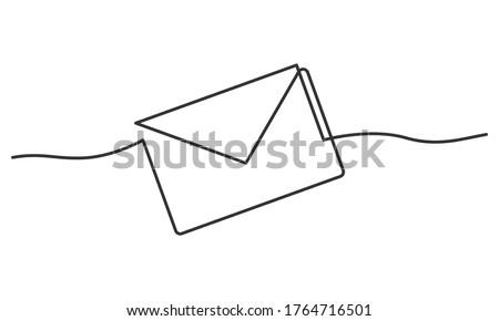 Continuous line drawing of envelope. Vector illustration Foto stock ©