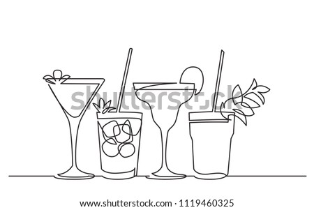 continuous line drawing of exotic cocktail drinks
