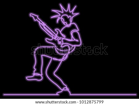 continuous line drawing of expressive rock guitarist posing with neon vector effect