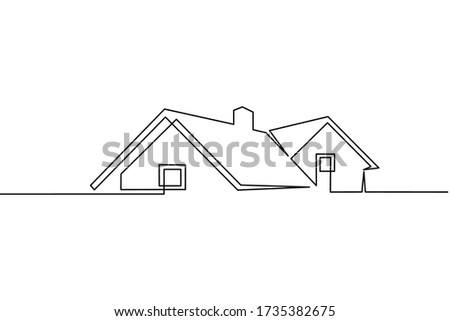 Continuous line drawing of exterior appearance of the front of the house with a roof. Modern. Townhouse building apartment. Home facade with doors and windows. house, roof, real estate