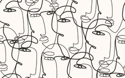 Continuous line, drawing of faces, fashion minimalist concept, vector illustration. Modern fashionable pattern.