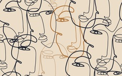Continuous line drawing of faces. Modern fashionable pattern. Minimalist abstract aesthetic style.