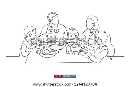 Continuous line drawing of family breakfast. Template for your design works. Vector illustration.