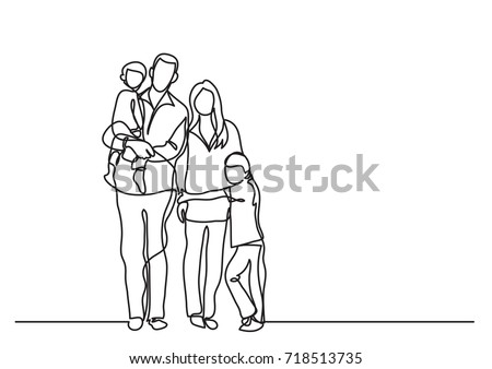 continuous line drawing of family standing together - Shutterstock ID 718513735