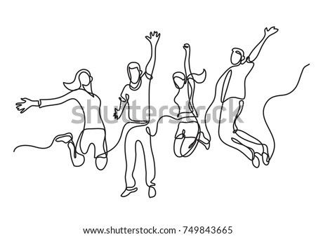 continuous line drawing of four jumping happy team members Сток-фото ©