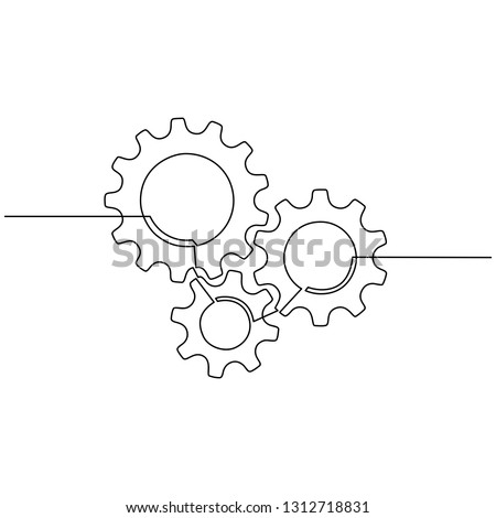Continuous line drawing of gears wheel. Gears are drawn by a single line on a white background. Vector
