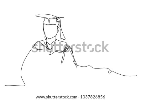 continuous line drawing of graduation students card concept congratulation  , linear style and Hand drawn Vector illustrations