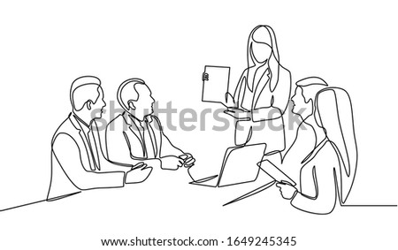 Continuous line drawing of group of business people having discussion in conference room. Creative business team brainstorming over new project isolated on white background ストックフォト ©