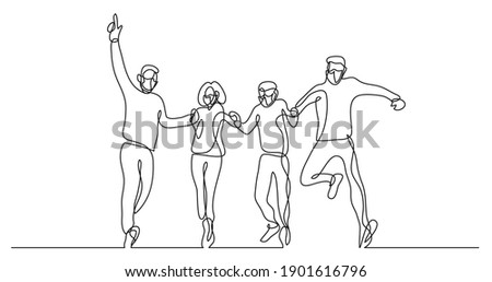 continuous line drawing of group of four people jumping wearing face masks Photo stock ©