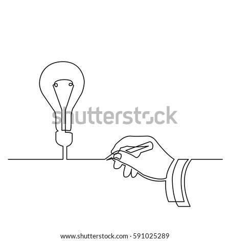 continuous line drawing of hand creating idea