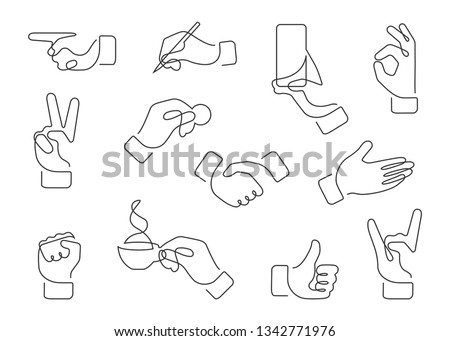 Continuous line drawing of hand gestures. Set of different gestures hand, signs and signals. Icon collection. Vector illustration on white background. #1342771976