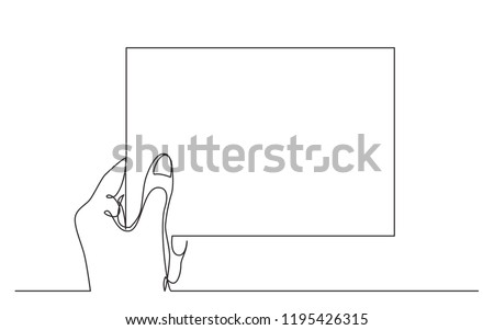 continuous line drawing of hand holding blank piece of paper