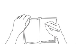 continuous line drawing of hand writing notes in workbook
