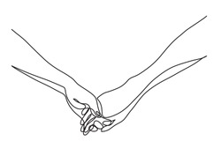 continuous line drawing of hands holding together