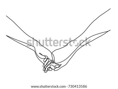 Stock Photo continuous line drawing of hands holding together