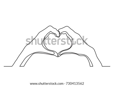 Stock Photo continuous line drawing of hands showing love sign