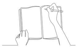 continuous line drawing of hands writing in workbook