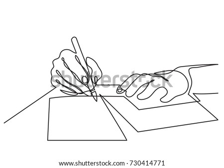 continuous line drawing of hands writing letter Foto stock ©