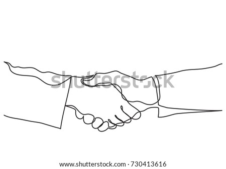 continuous line drawing of handshake