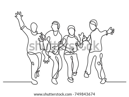 continuous line drawing of happy cheerful friends