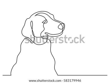 Continuous line drawing of happy dog portrait
