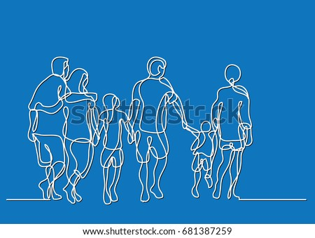 continuous line drawing of happy extended family walking
