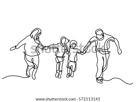 continuous line drawing of happy family running - Shutterstock ID 572113141