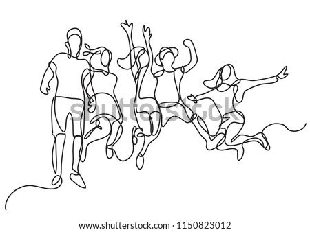 continuous line drawing of happy jumping group of youth