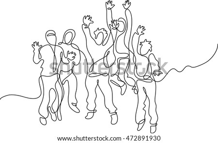 continuous line drawing of happy jumping people