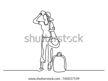 continuous line drawing of happy standing woman traveler with baggage