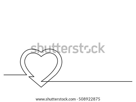 continuous line drawing of heart