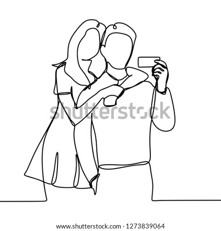 continuous line drawing of hot couple with credit card - Vector illustration isolated on white background