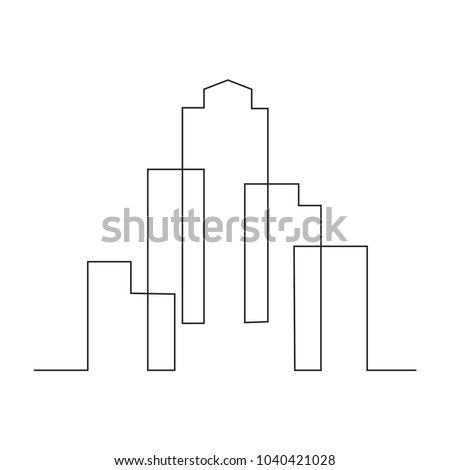 continuous line drawing of house, building, residential building concept, logo, symbol, construction, vector illustration simple.