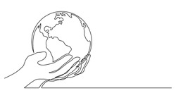 continuous line drawing of human hand holding world planet earth