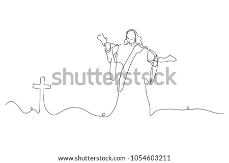 Continuous Line Drawing Of Jesus Christ Vector Illustration