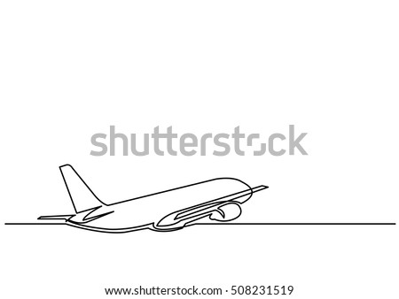 continuous line drawing of jet plane