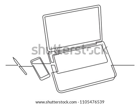 continuous line drawing of laptop computer phone and pencil