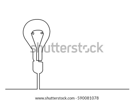 continuous line drawing of light bulb or idea metaphor