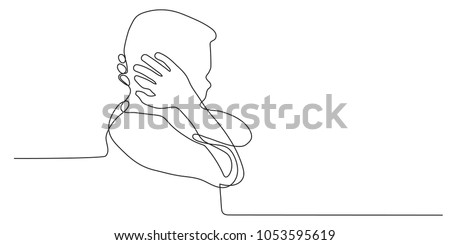 Continuous line drawing of little boy hands off the ear, Stubborn not listen on white background, children feel stressed.