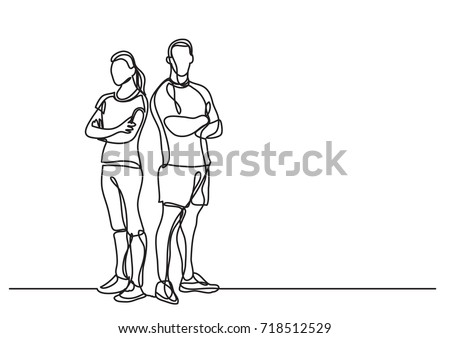 continuous line drawing of man and woman fitness instructors standing
