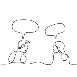 Continuous line drawing of man and woman having conversation with speech bubbles. Young couple sitting and Having small talk at home hand-drawn line art on white background. Communication concept