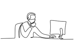 Continuous line drawing of man look computer screen. A professional office worker concentrated behind computer and wear a mask in pandemic COVID-19. Work from home concept. Vector illustration
