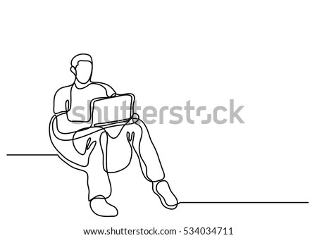 continuous line drawing of man